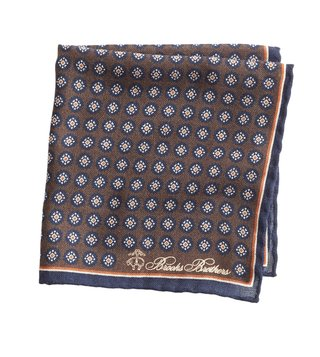 Brooks Brothers Brown Medallion Printed Pocket Square