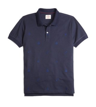 Brooks Brothers Red Fleece Navy Anchor Embroidery Polo T-Shirt