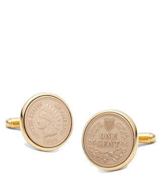 Brooks Brothers Gold Replica Indian Head Penny Cufflinks