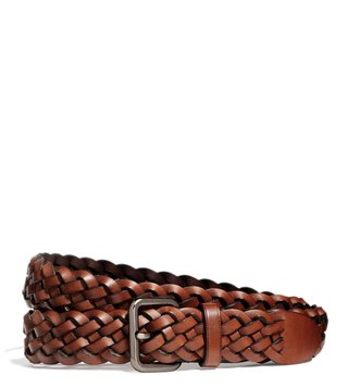 Coach Saddle Woven Leather Waist Belt