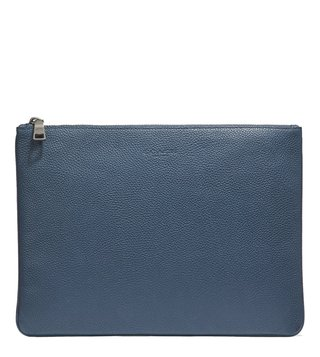 Coach Denim Multifunctional Pebble Leather Large Pouch