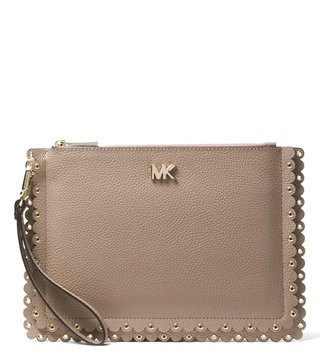 MICHAEL Michael Kors Truffle Scalloped Leather Travel Wristlet