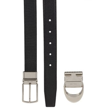 Coach Boxed Sculpted C Black Dark Brown Reversible Belt