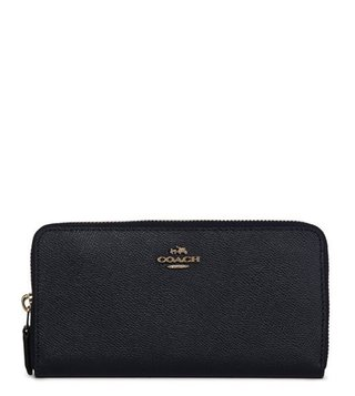 Coach Accordion Zip Midnight Navy Leather Wallet