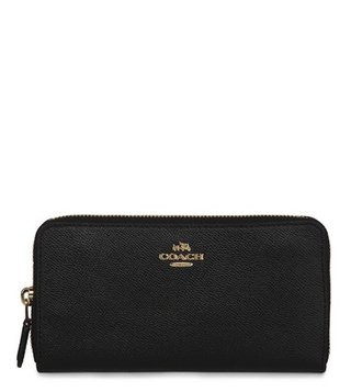 Coach Accordion Zip Black Crossgrain Leather Wallet