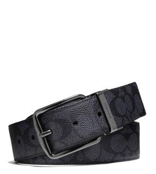 fd146d9d674 Coach Charcoal   Black Wide Harness Reversible Signature ...