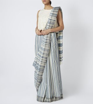 Pankaja Indigo & Off White Organic Cotton Saree