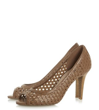 Dune London Tan Carding Peeptoe Shoes
