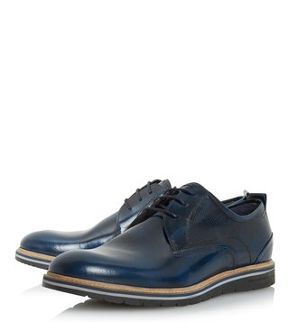 Dune London Navy Hi Shine Blazer Derby Shoes