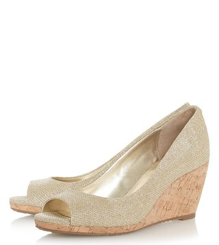 Dune London Gold Metallic Caydence Peeptoe Shoes