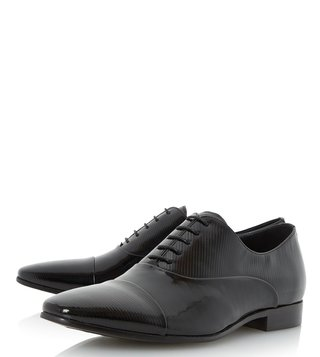 Dune London Black Patent Rubicon Oxford Shoes