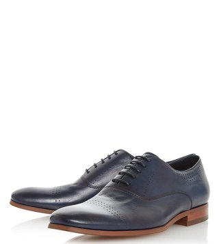 Dune London Navy Pickford Brogue Shoes