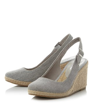 Dune London Grey Kanvas Back Strap Wedges