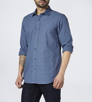 Bombay Shirt Company Blue & Black Checks Regular Fit Shirt