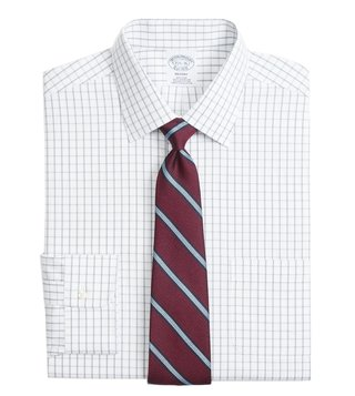 Brooks Brothers Grey Non-Iron Overcheck Windowpane Shirt