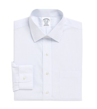 Brooks Brothers Light - Pastel Blue Non-Iron Graph Plaid Shirt