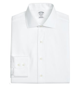 Brooks Brothers White Non-Iron Herringbone Shirt
