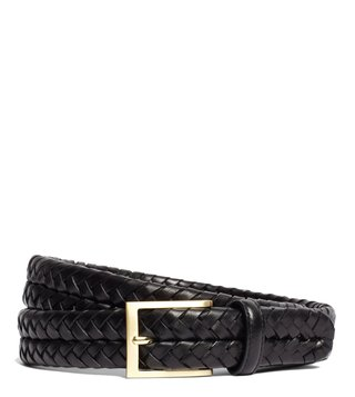 Brooks Brothers Black Leather Braided Waist Belt