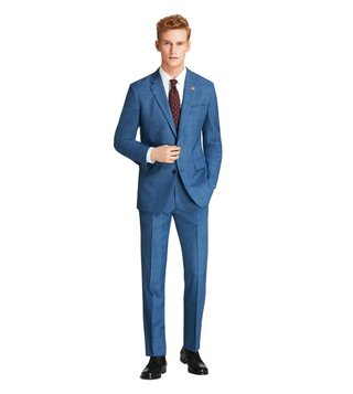 Brooks Brothers Blue Milano Fit Plaid Suit