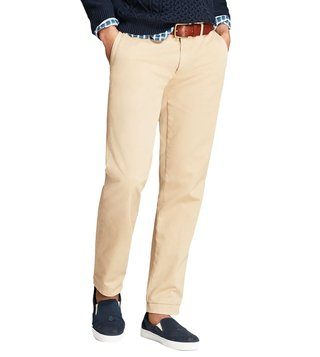 Brooks Brothers Red Fleece Medium Beige Slim Fit Chinos