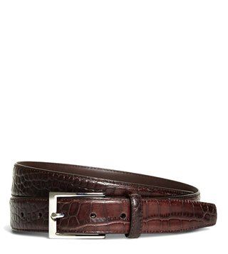 Brooks Brothers Brown Embossed Leather Waist Belt