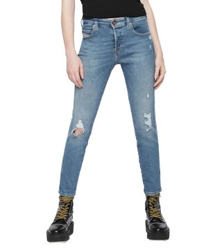 Diesel Tattered Blue Denim Babhila L.32 Pantaloni Skinny Fit Jeans