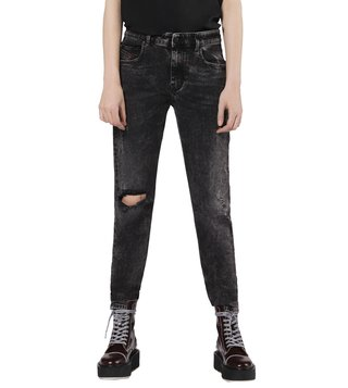Diesel Tattered Dark Grey Denim Neekhol L.32 Pantaloni Straight Fit Jeans
