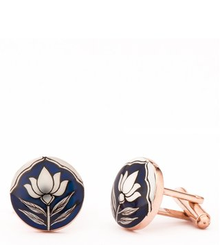 AZGA Navy Hand Painted Lotus Cufflinks