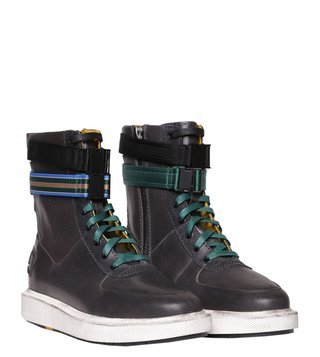 Diesel Black Multicolor H-Cage High ST Ankle Biker Boots