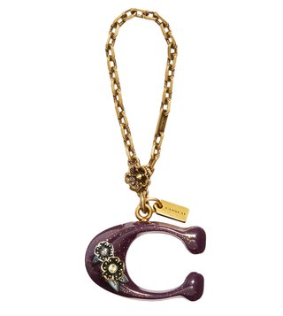 Coach Gold & Oxblood Western Bubble C Bag Charm