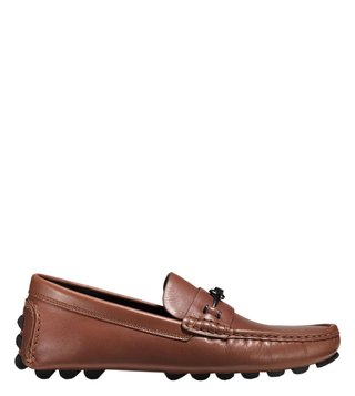 Coach Dark Saddle Crosby Turnlock Leather Driver Loafers