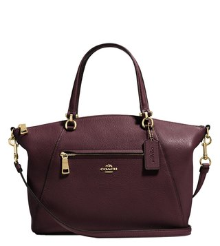 Coach Light Oxblood Polished Pebbled Leather Prairie Satchel