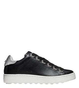 Coach Black & Silver C115 Signature C Slip On Sneakers