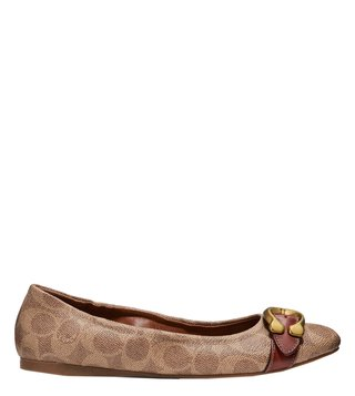 Coach Tan & Rust Stanton Ballet Signature Buckle Ballerinas