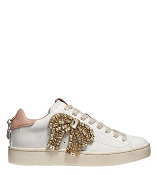 Coach Pale Blush & White C101 Crystal Sneakers