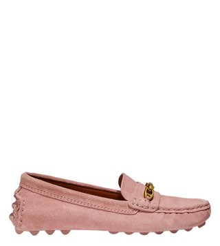 Coach Peony Crosby Signature Chain Suede Driver Loafers