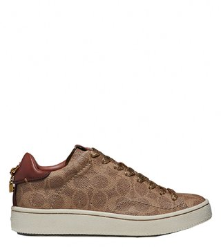 Coach Tan & Rust C101 Signature Coated Canvas Sneakers