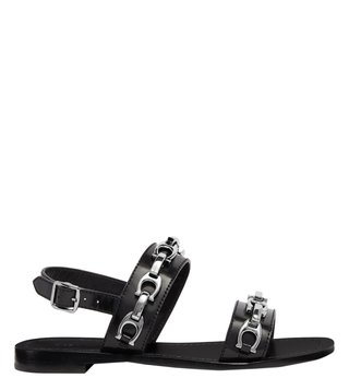 Coach Black Signature Chain Bonnie Sling Back Sandals