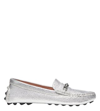 c644e87ffc2 Coach Silver Crosby Signature Chain Driver Loafers ...