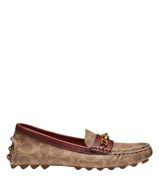 Coach Tan & Rust Crosby Signature Chain Driver Loafers