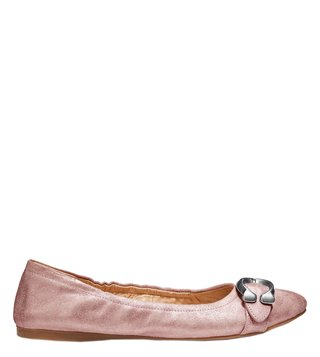 Coach Metallic Rose Signature Buckle Stanton Ballerinas