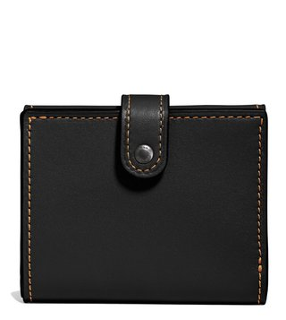 Coach Black Glovetan Leather Trifold Wallet