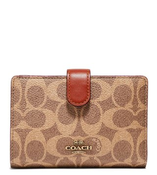 Coach Tan & Rust Colorblock Coated Canvas Corner Z Wallet