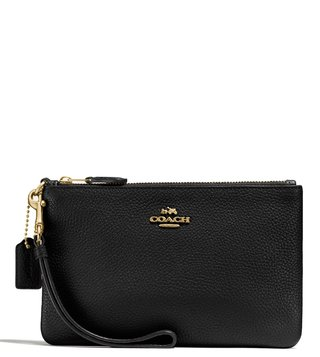 Coach Black Polished Pebble Wristlet