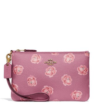 Coach Rose Print Coated Canvas Wristlet