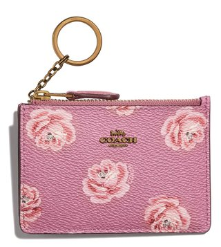 Coach Rose Print Id Skinny Card Holder