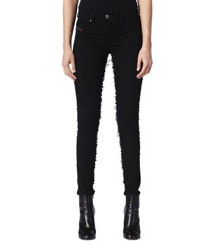 Diesel Raw Denim Black Dhary-Dt L.32 Pantaloni Skinny Fit Jeans
