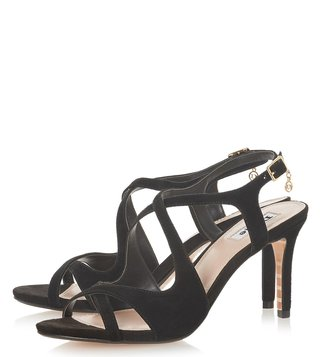 Dune London Black Maribelle Cross Strap Sandals