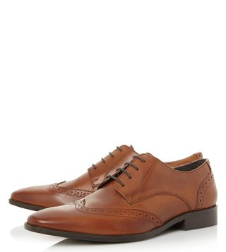 Dune London Tan Leather Phils Brogue Shoes