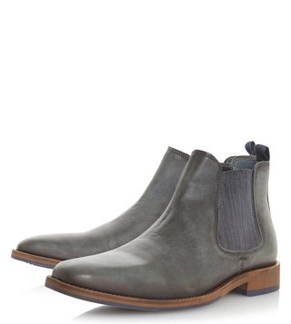 Dune London Grey Leather Conor Boots